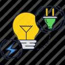 bulb, electricity, light, plug icon