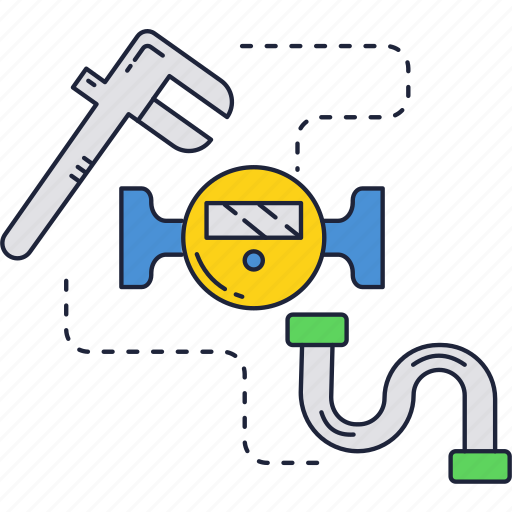 meter, tap, water, wrench icon