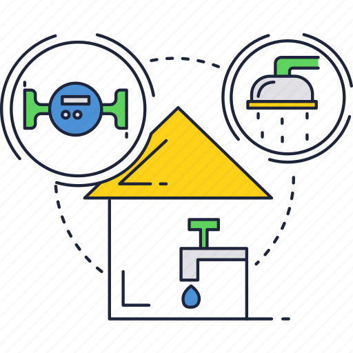 house, meter, shower, tap, tube, water icon