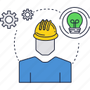 bulb, construction, electricity, hard, hat, light, worker icon