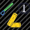 log, saw, screw, timber, wood icon