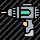 drill, cordless, battery, hardware, construction