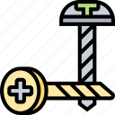 screw, nail, spiral, bolt, hardware