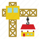construction, crane, house, tools