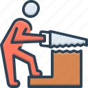 builder, carpentry, construction, hand, saw, wood, work icon