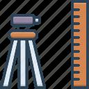 constructing, geodetic, measurement, surveyor, technology, tool, topography icon