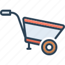 agriculture, construction, horticulture, material, pushcart, transportation, wheel barrow icon