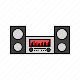 center, consumer electronics, music, musical, speaker icon