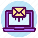 contact, email, laptop, letter, mail, send, sending icon