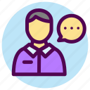 avatar, contact, customer, male, service, talking icon