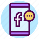 communication, contact, facebook, message, messenger, smartphone icon