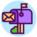 communication, contact, letter, mail, post, postbox icon
