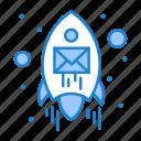 email, envelope, rocket, seo