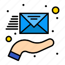 email, envelope, hand, support