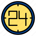 24, clock, hours icon