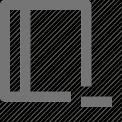 book, content, minimize, minus, remove icon
