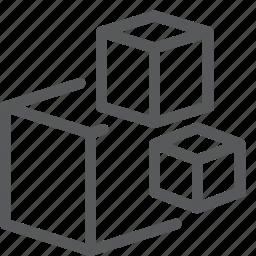 box, content, cube, modules, shipping, storage icon