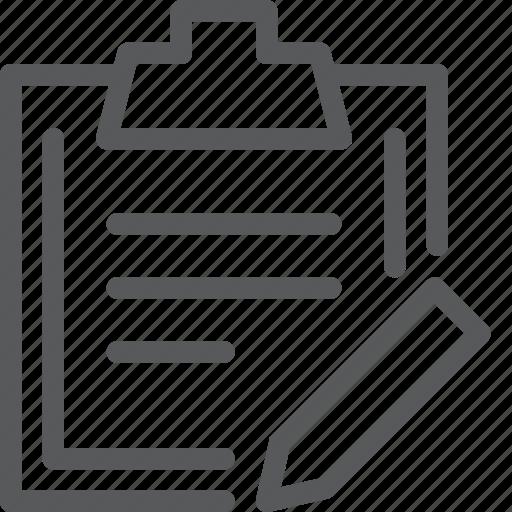 clipboard, content, document, edit, note, pen icon