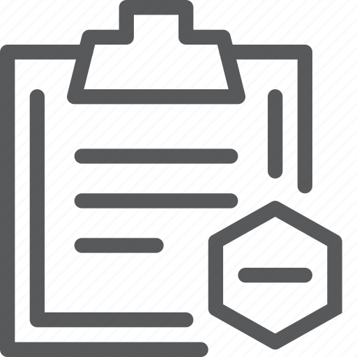 clipboard, content, document, minus, note, remove, subtract icon