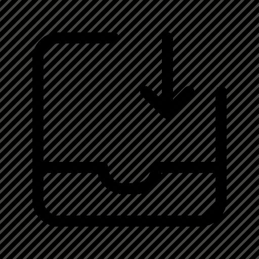 down, import, inbox, tray icon