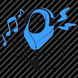 listening, music, media, note, woman, headphones, mobile, phone, song, audio, loud