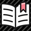book, open, bookmark