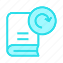 book, content, education, redo, reload icon