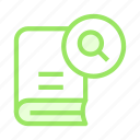 book, content, glass, magnifier, seartch icon