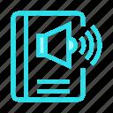 book, high, sound, speaker, volume icon