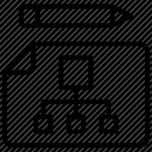 flow diagram, process flow, project flow, project flowchart, project plan  icon