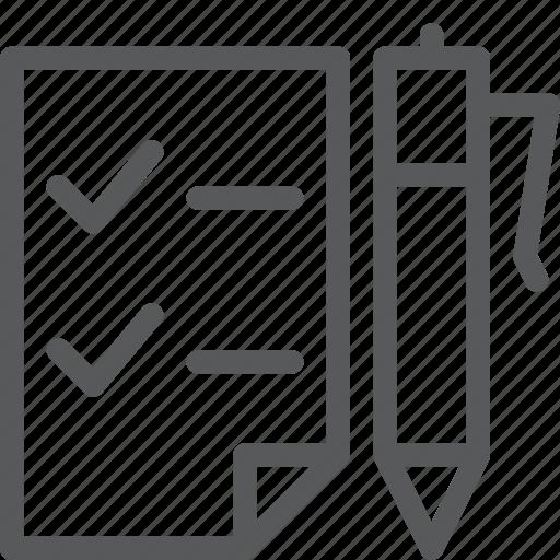checklist, content, draw, edit, fountain pen, list, school, write icon