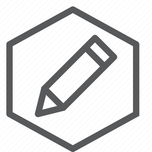 content, draw, edition, education, hexagon, pencil, text, write icon