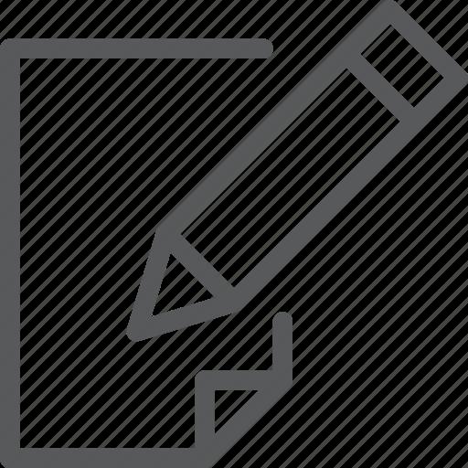 content, edition, fill, paper, pencil, text, write icon