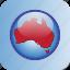 australia, circle, in icon