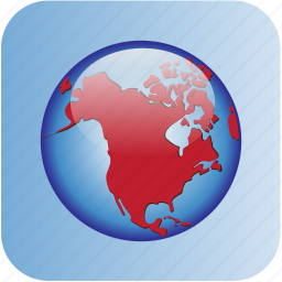 america, circle, in, north, with round background icon