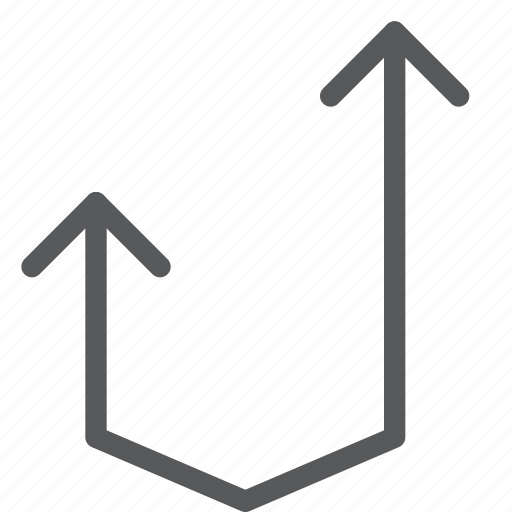 arrow, control, curve, u turn, up, upload icon
