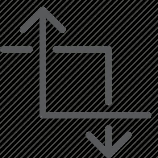 area, arrow, control, crop, overlap icon