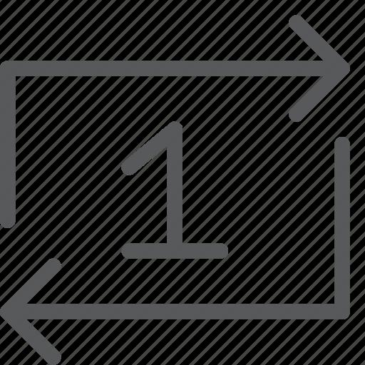 arrow, loop, media, one, refresh, reload, restart, sync icon