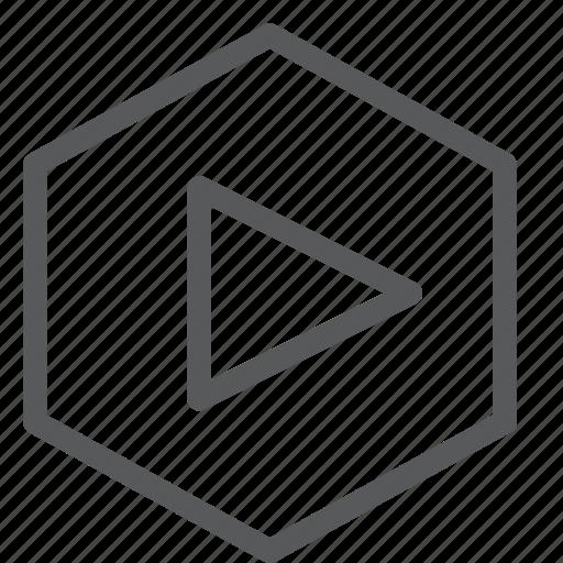 control, hexagon, media, play, player, video icon