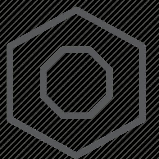 control, hexagon, media, record, video icon