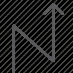 arrow, control, curve, move, right, zag, zig icon