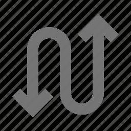 arrow, arrows, zigzag icon