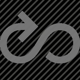 arrow, audio, infinity, loop, play, software, tool, workflow icon