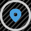check, in, location, pin icon