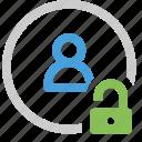 contact, unlock icon