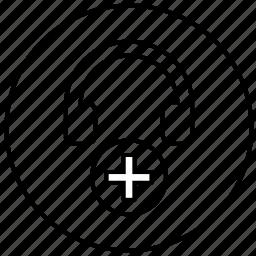 add, headphones, plus, sound, volume icon