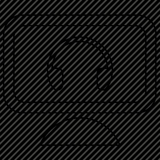 device, headphones, listen, monitor, music, pc icon