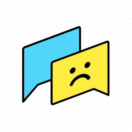 answer, chat, conversation, dialogue, message, question, sad icon
