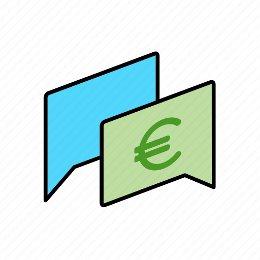 chat, conversation, dialogue, eur, message, money, question icon