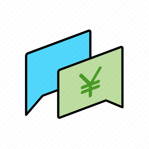chat, conversation, dialogue, jpy, message, money, question icon